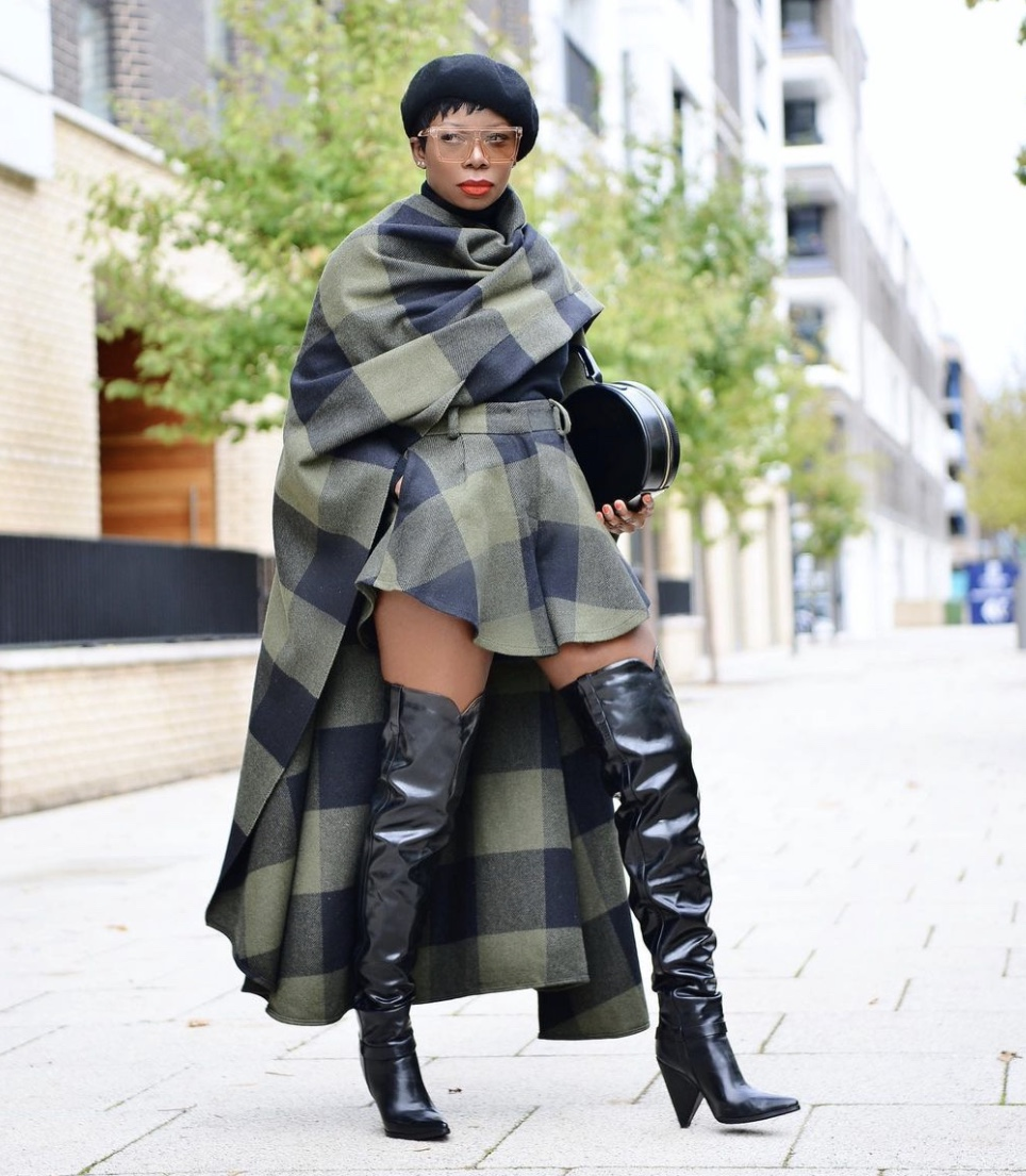 big check prints leather thigh high boots stylerave