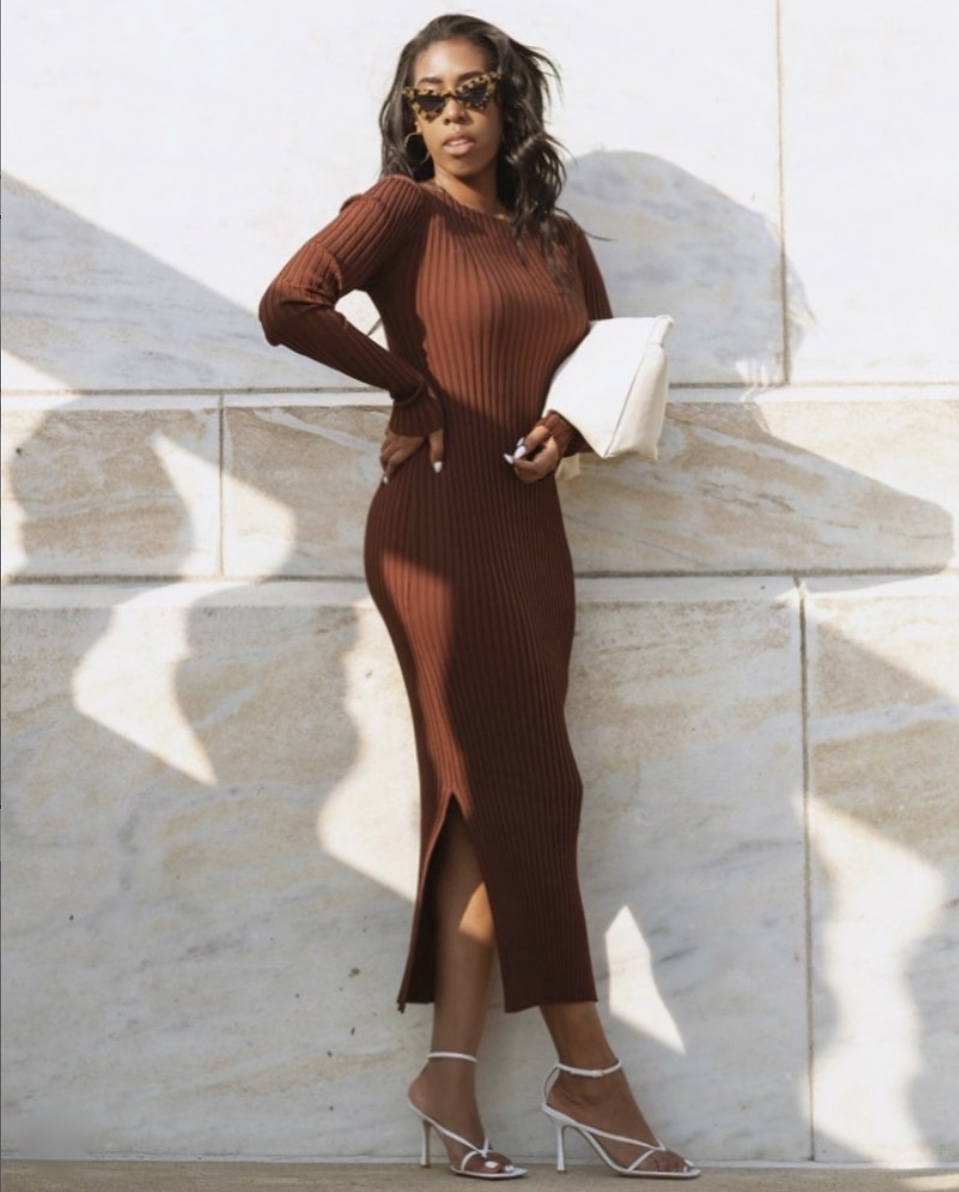 brown bodycon maxi dress stylerave