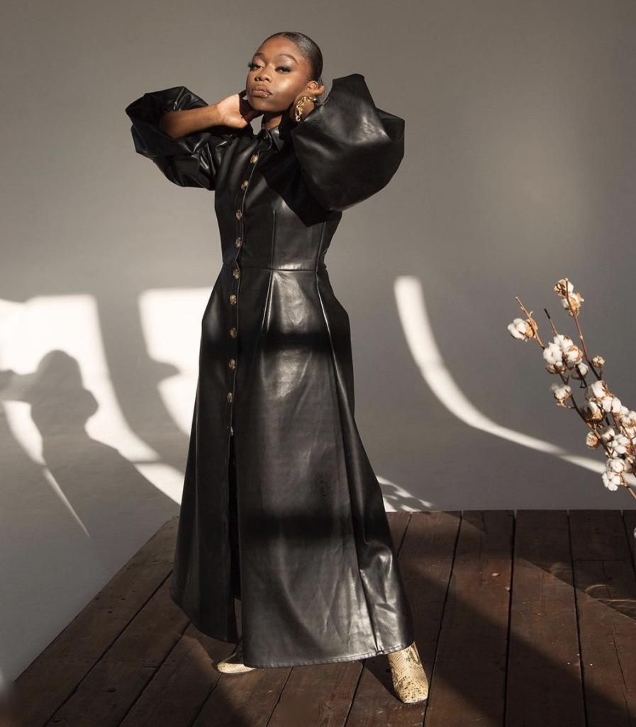 Fisayo Longe black leather  maxi dress balloon sleeves stylerave