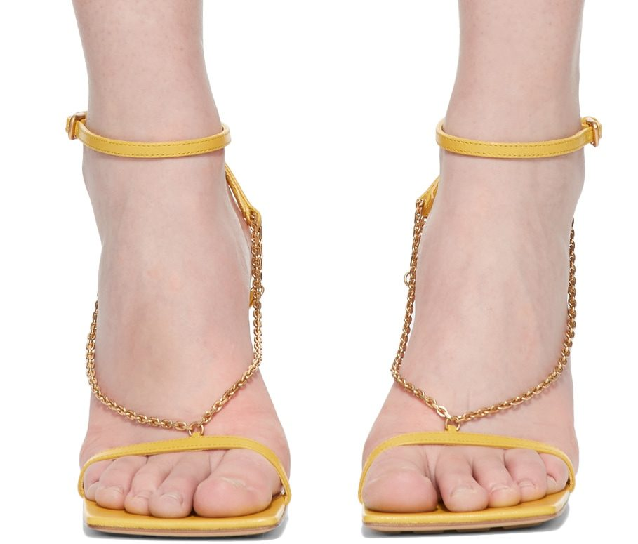 bottega-veneta-yellow-stretch-chain-sandals
