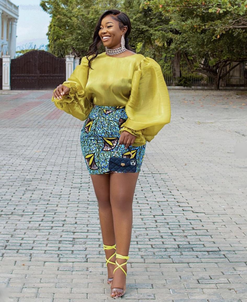 ankara mini skirt yellow strappy heels stylerave