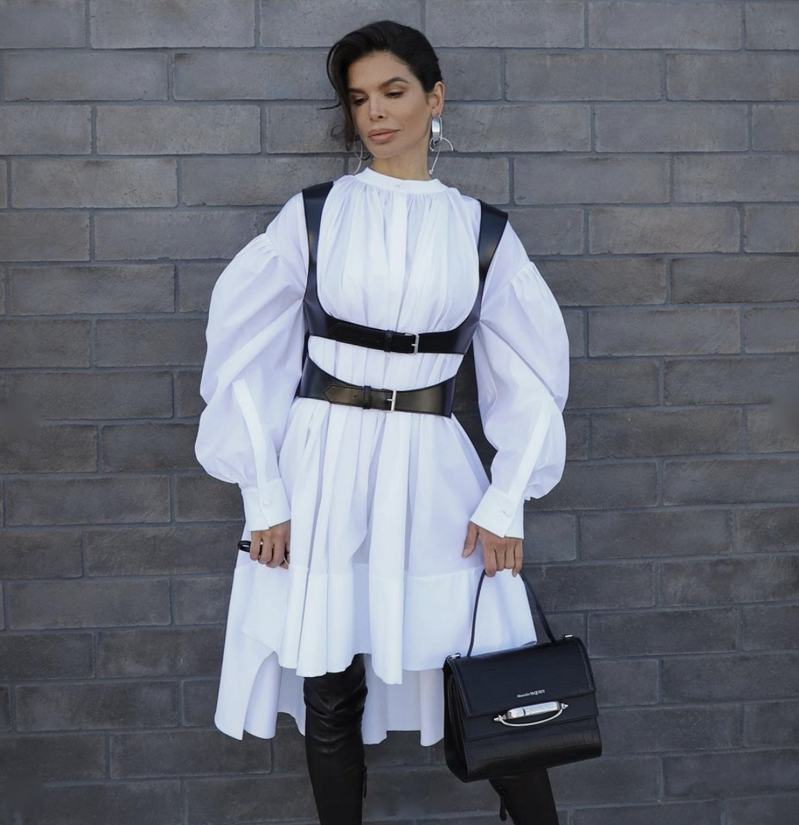 white shirt dress black harness puffy sleeves stylerave