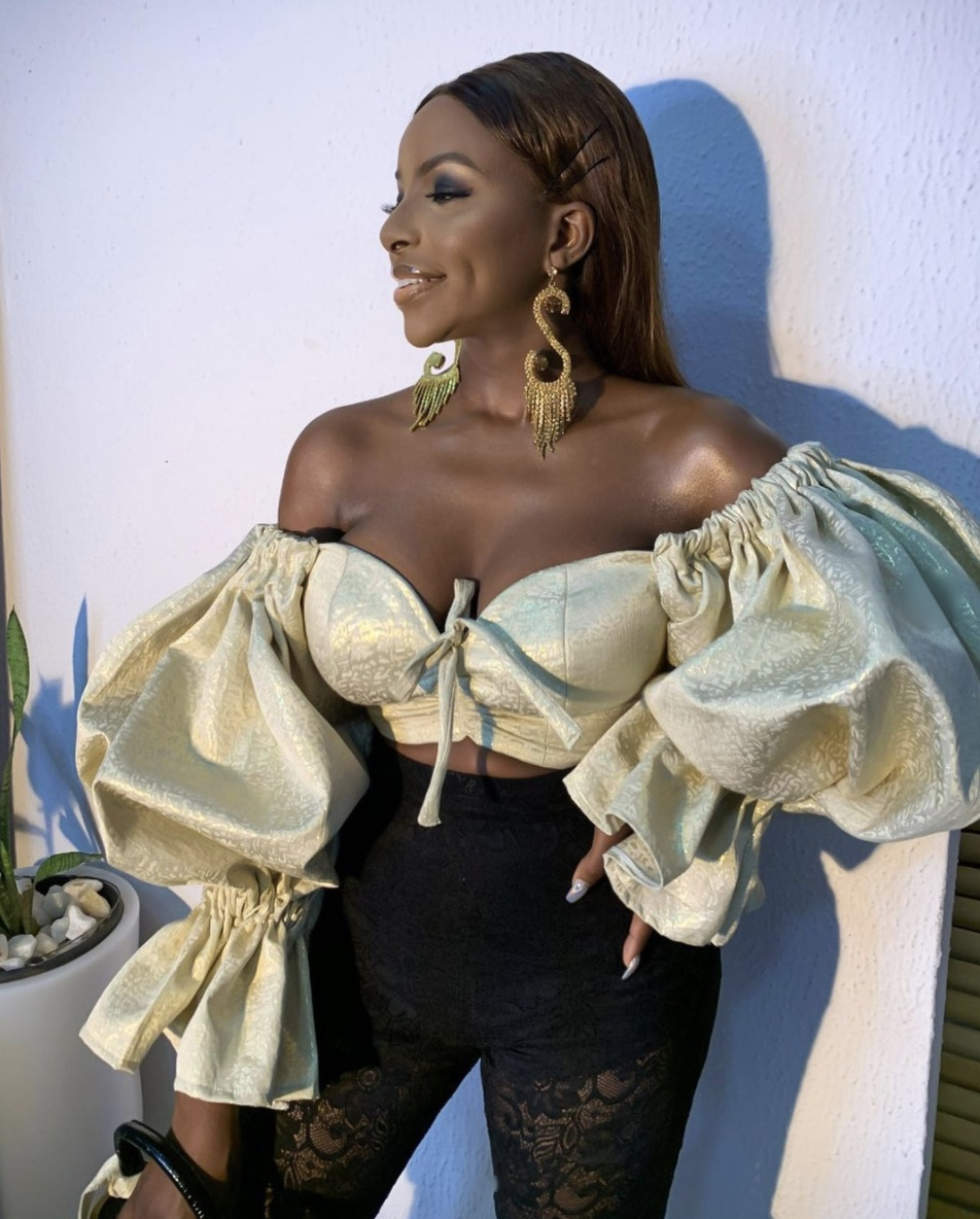 Wathoni Anyansi gold crop tops with puffy sleeves stylerave