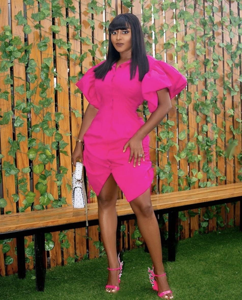 Ini Edo pink midi shirt dress latest fashion trends stylerave