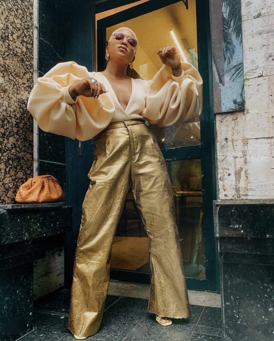 gold wide leg trousers tops with puffy sleeves stylerave