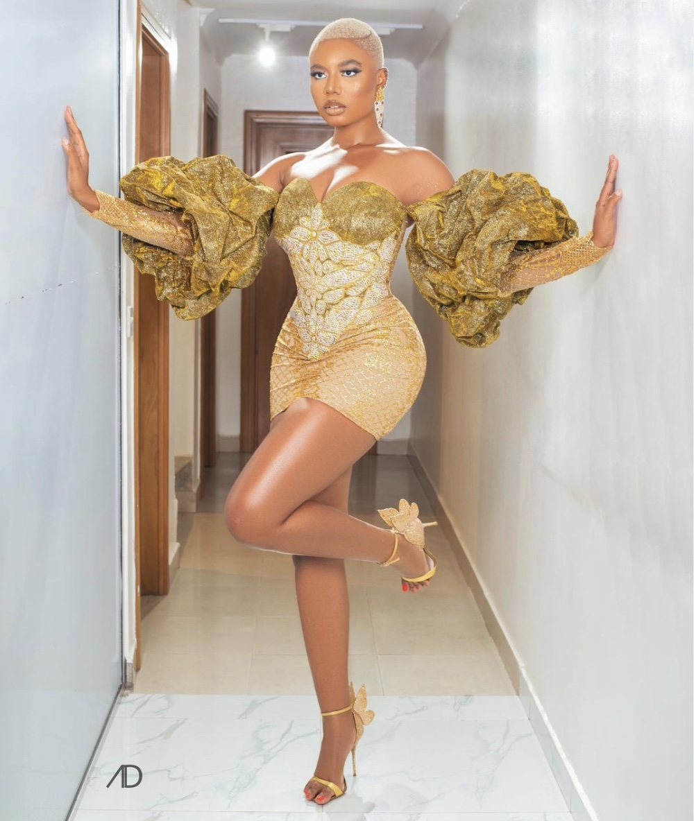 Nancy Isime gold mini dress latest fashion trends stylerave