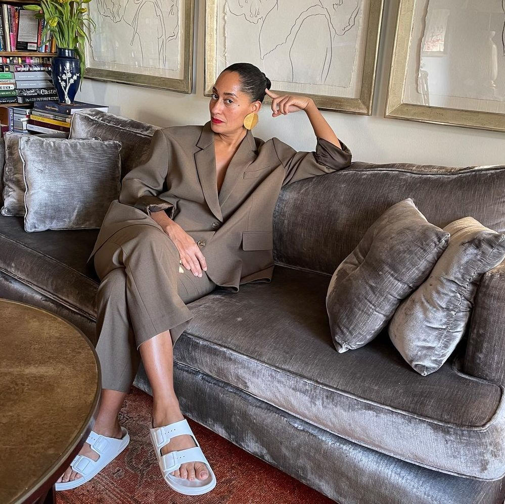 tracee-ellis-ross-wearing-birkenstock-arizona-eva-and-brown-suit