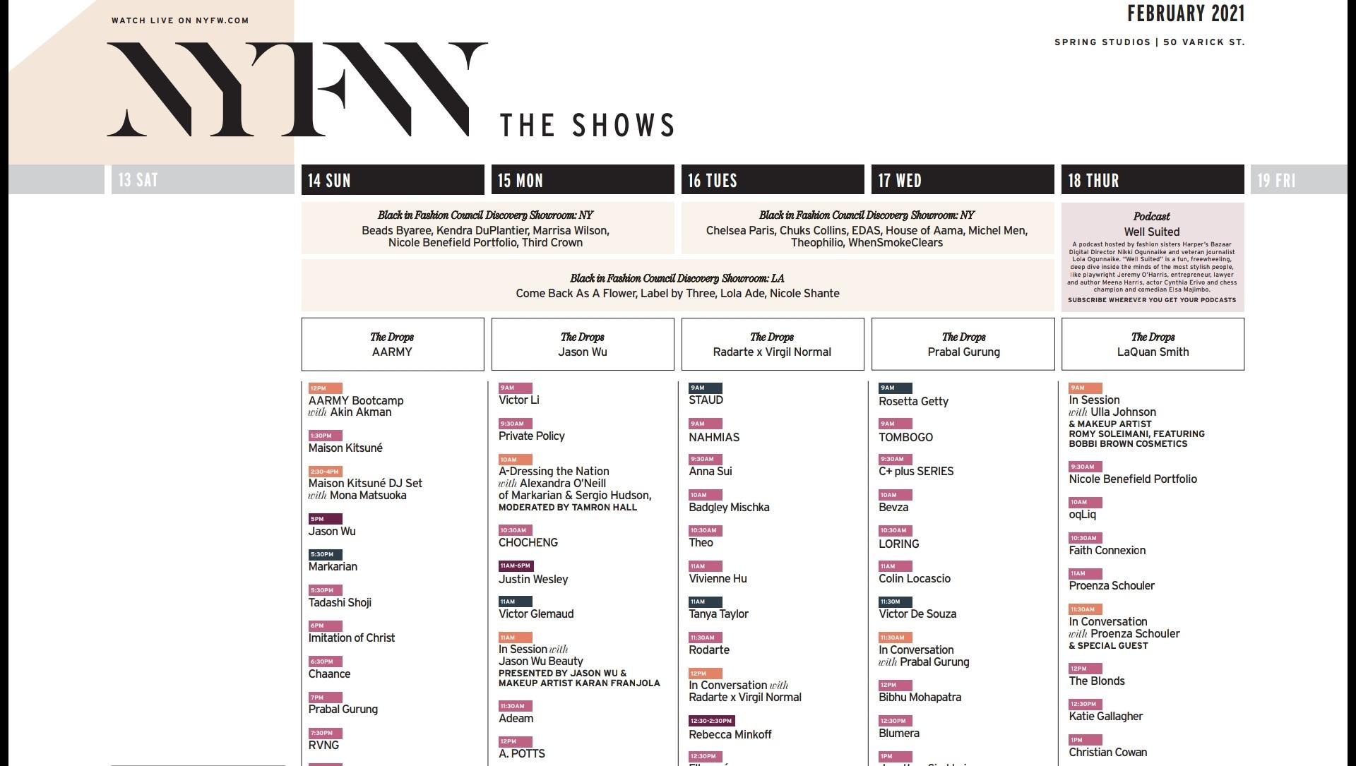 NYFW 2021 schedule