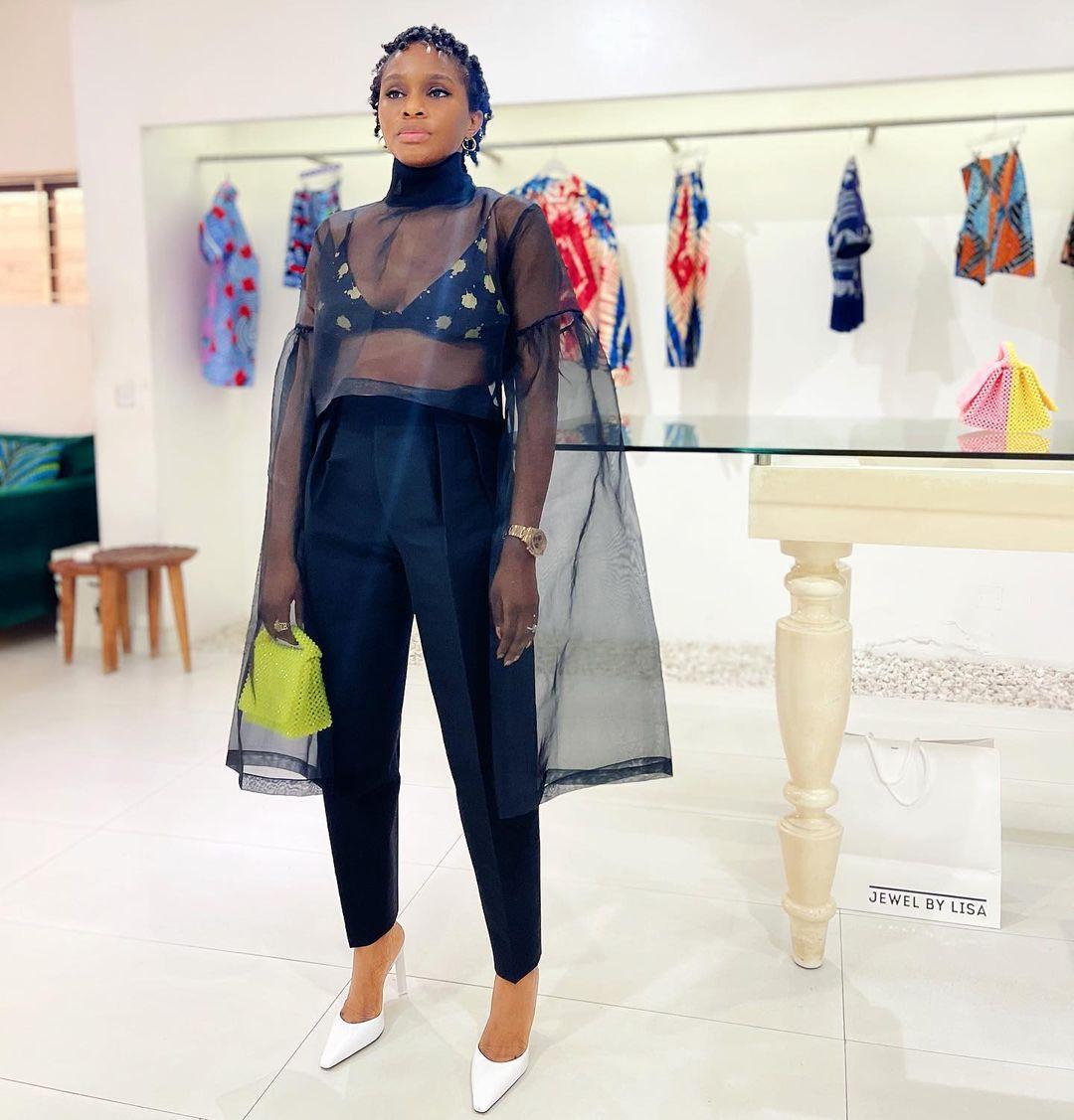 Lisa Folawiyo designer celebrity black top lemon bag style