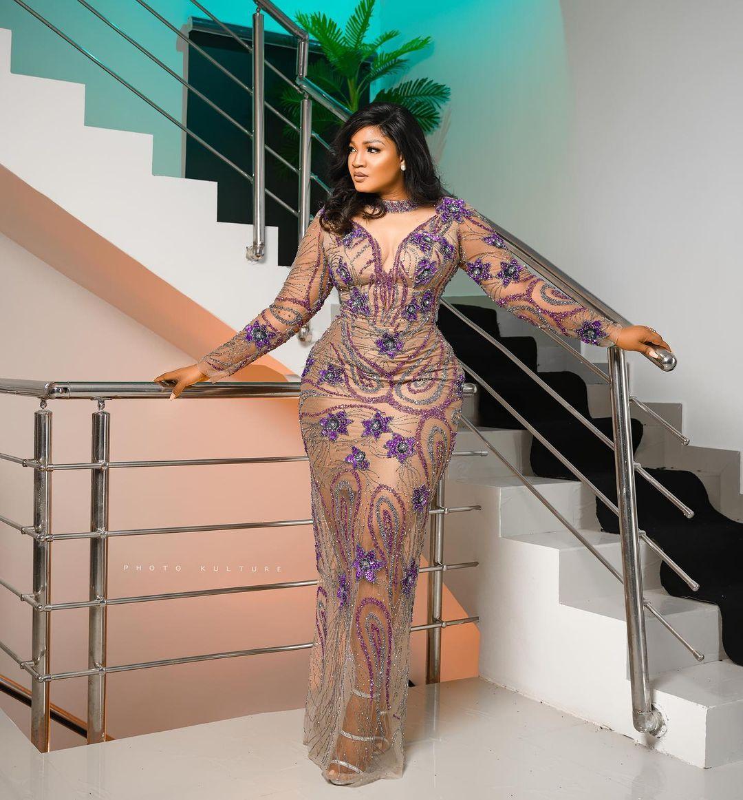 Omotola Jalade-Ekeinde beaded dress