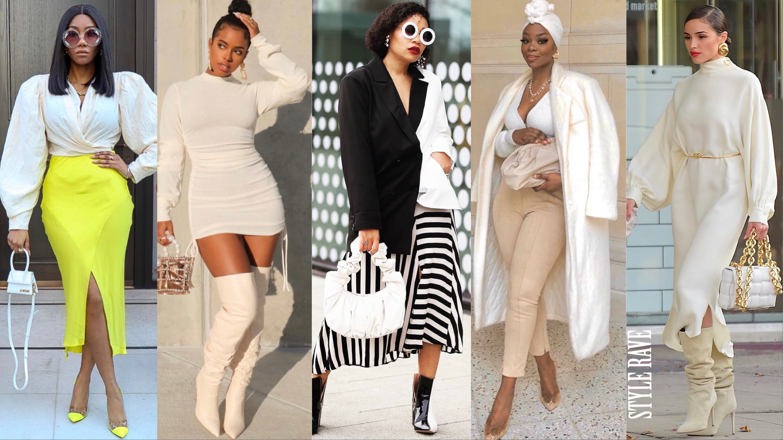 5 women show how to style ivory cream color.