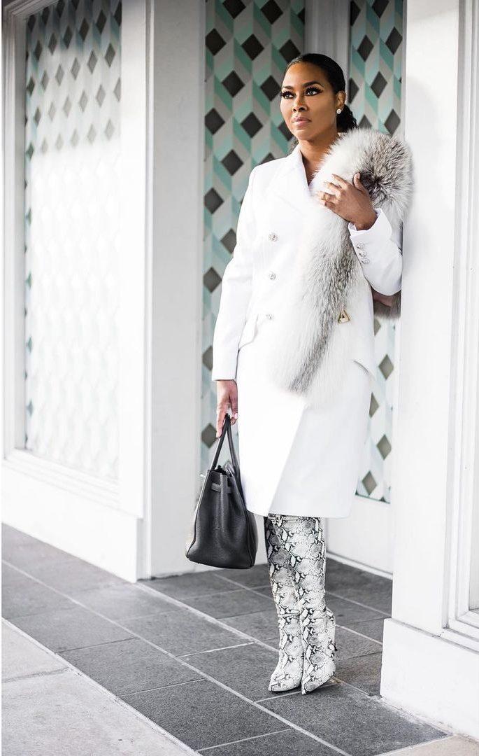 Kenya Moore black and white style black-celebs-style-stars-instagram